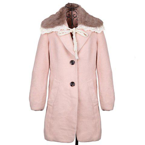Lapel Simple Design Long Sleeve Women's Coat With Detachable Faux Fur Collar