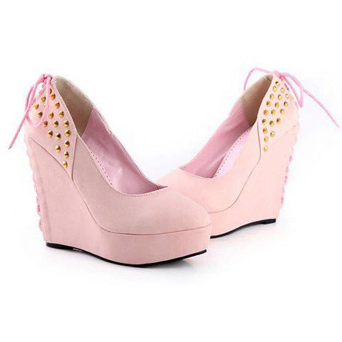Casual Suede Leather Rivets and Lace-Up Design Women's Wedge Shoes - 37 PINK