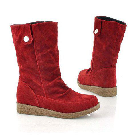Causal Suede Studs Design Women's Boots - RED 34