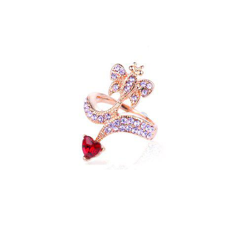 Rhinestone Embellished Butterfly Ring