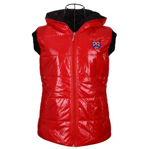 Fashionable Hooded Zipper Design Sleeveless Keeping Warm Casual Multicolor Women's Waistcoat - RED S