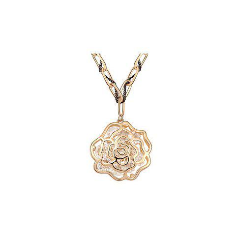 Gorgeous Graceful Style Openwork Rose Flower Shape Crystal Embellished Women's Necklace - GOLD