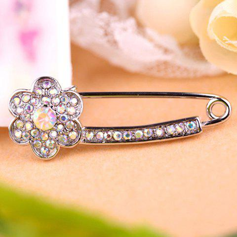 Chic Sparking Sweet Rhinestone Embellished Flower Shape Women's Brooch - SILVER