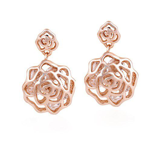 Pair of Ladylike Elegant Style Rose Flower Shape Rhinestone Embellished Women's Earrings