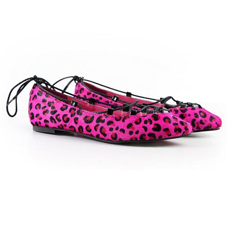 Casual Leather Lace-Up and Leopard Veins Design Women's Flat Shoes - PEACH RED 35