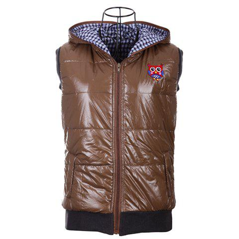 Fashionable Hooded Zipper Design Sleeveless Keeping Warm Casual Multicolor Women's Waistcoat - BROWN M