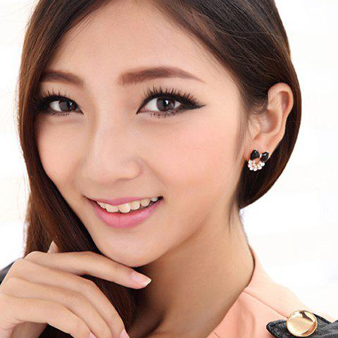Pair of Sweet Cute Style Bowknot Shape Rhinestone Embellished Women's Stud Earrings - BLACK
