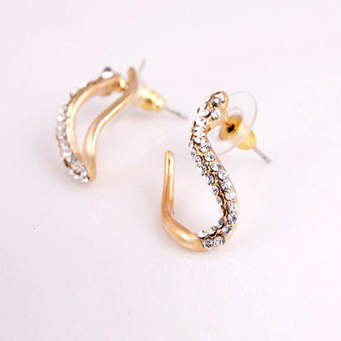 Pair of Charming Elegant Style Snake Shape Rhinestone Decorated Women's Stud Earrings - GOLD