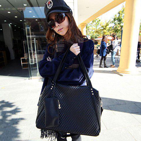 Casual Leather Solid Color and Checked Design Women's Shoulder Bag - BLACK