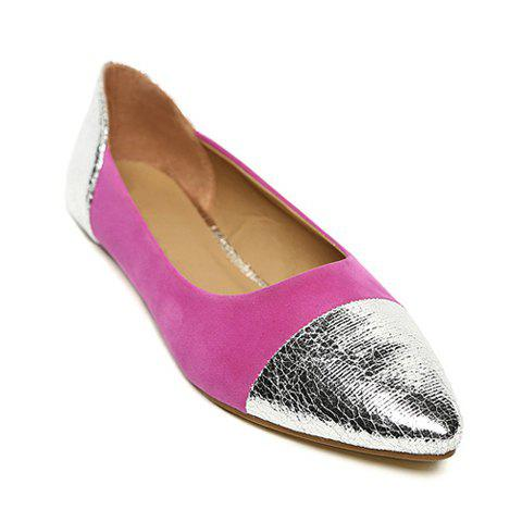 Casual Suede Sequins Pointed Toe Design Women's Flat Shoes - PINK 39