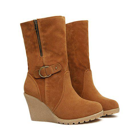 Casual Suede Leather Turndown Collar and Wedge Heel Design Women's Snow Boots - CHOCOLATE 37