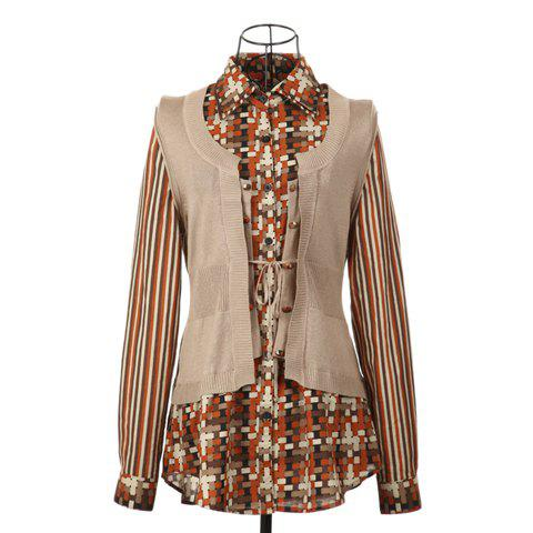 British Style Shirt Collar Checked Pattern Long Sleeves Faux Twinset Splicing Design Cotton Thread Women's Cardigan wltoys v977 008 replacement landing gear accessory part for v977 v930 black