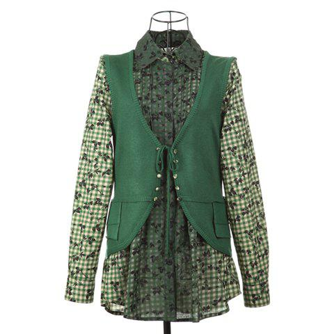 Stylish Shirt Collar Splicing Design Checked Pattern Faux Twinset Embellished Cotton Thread Multicolor Women's Caidigan - GREEN ONE SIZE