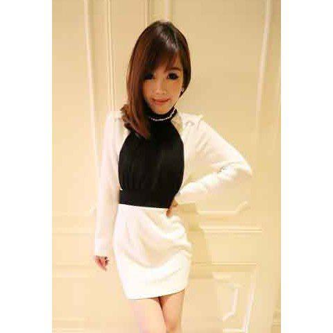 Elegant Style Splicing Pleated Design Stand Collar Long Sleeve Cotton Blend Women's Dress - WHITE ONE SIZE