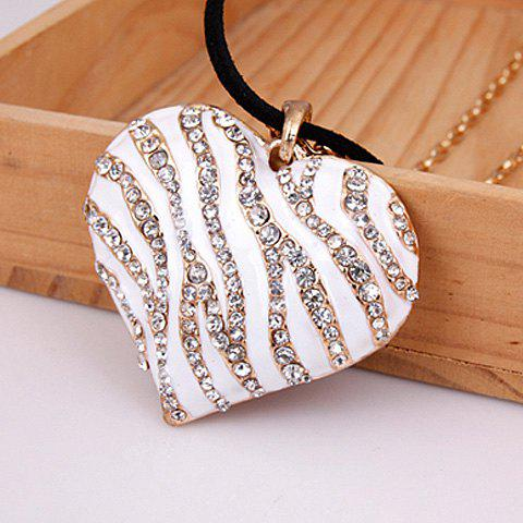 Chic Sweet Vintage Rhinestone Embellished Heart Pendant Women's Sweater Chain Necklace - WHITE