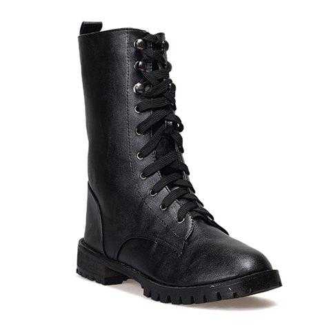 Casual PU Leather Lace Up Solid Color Design Women's Combat Boots - BLACK 35