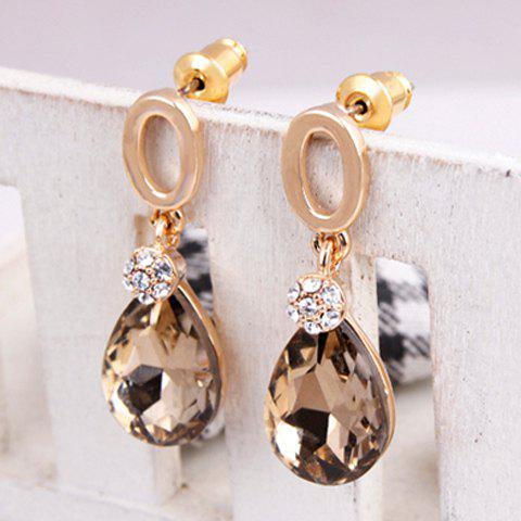 Sparking Graceful Rhinestone Embellished Waterdrop Shape Women's Earrings