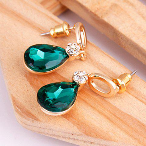 Sparking Graceful Rhinestone Embellished Waterdrop Shape Women's Earrings - GREEN