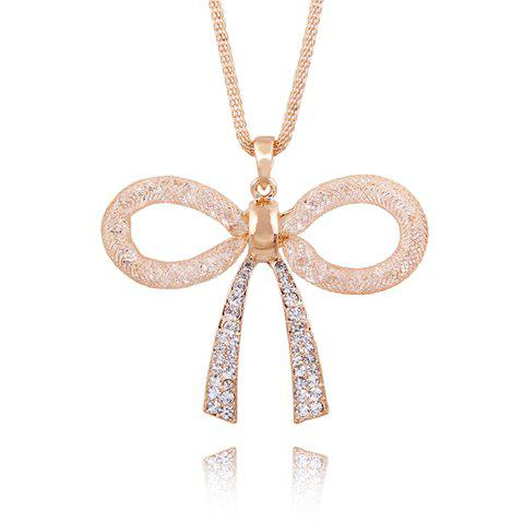 Chic Graceful Rhinestone Embellished Bowknot Pendant Women's Necklace - AS THE PICTURE