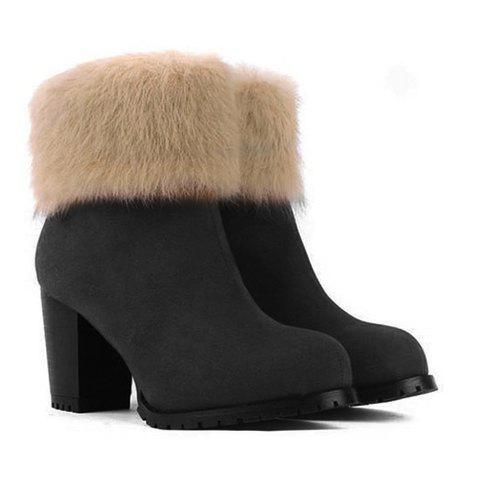 Casual Suede Faux Fur Design Women's Boots - BLACK 39