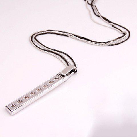 Chic Graceful Flower Embellished Rectangle Pendant Women's Sweater Chain Necklace - SILVER