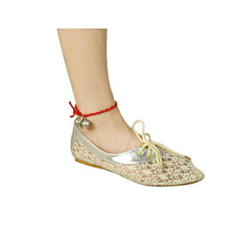 Sweet Casual Leather Lace and Point Toe Design Women's Flat Shoes - BEIGE 36