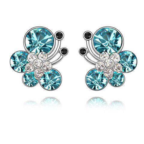 Chic Sparking Graceful Rhinestoned Butterfly Shape Women's Stud Earrings - LAKE BLUE