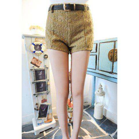 Slimming With Belt Solid Color High Waist Worsted Women's Shorts - DARK KHAKI ONE SIZE