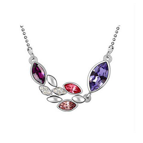 Chic Sparking Graceful Rhinestoned Leaves Shape Pendant Women's Necklace - PURPLE