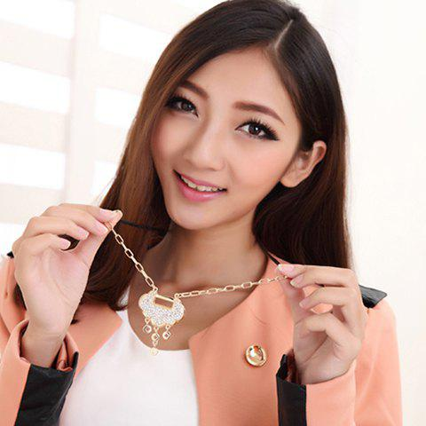 Chic Sparking Elegant Rhinestoned Lucky Lock Pendant Women's Necklace - AS THE PICTURE