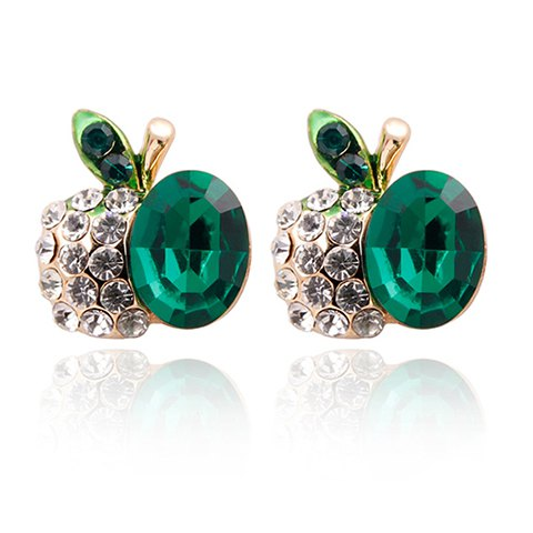 Chic Sparking Elegant Rhinestone Embellished Cherry Shape Women's Stud Earrings - GREEN