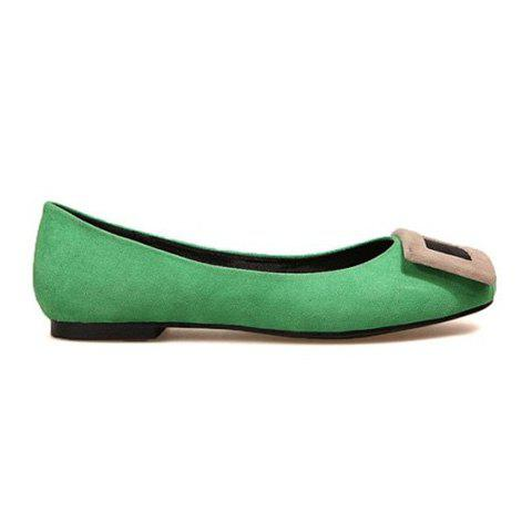 Casual Suede Candy Color Design Women's Flat Shoes - GREEN 35
