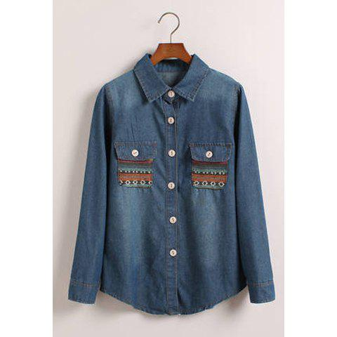 Retro Style Bleach Wash Long Sleeves Women's Denim Shirt - BLUE ONE SIZE