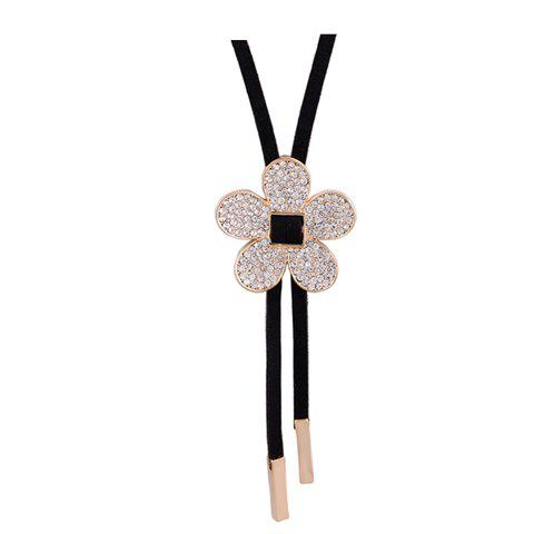 Graceful Elegant Style Flower Shape Rhinestone Decorated Women's Sweater Chain Necklace