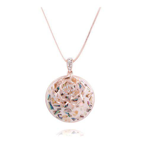 Gorgeous Exquisite Style Carved Rose Flower Shape Rhinestone Embellished Women's Sweater Chain Necklace - COLOR ASSORTED