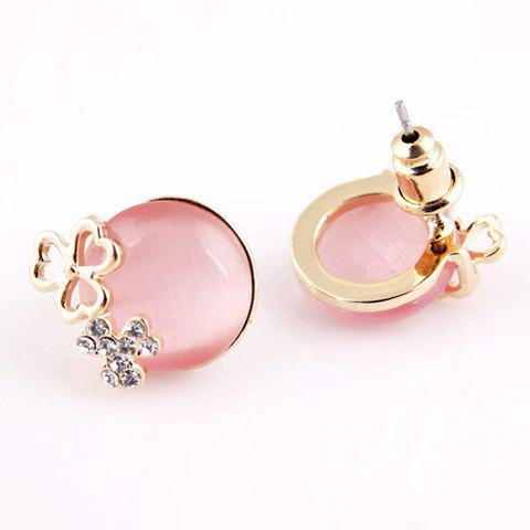 Pair of Rhinestone Decorated Clover Shape Stud Earrings - PINK