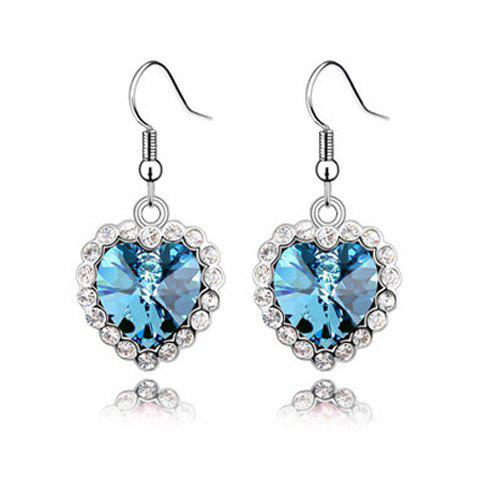 Chic Sparking Sweet Rhinestone Embellished Heart Pendant Women's Earrings - LAKE BLUE