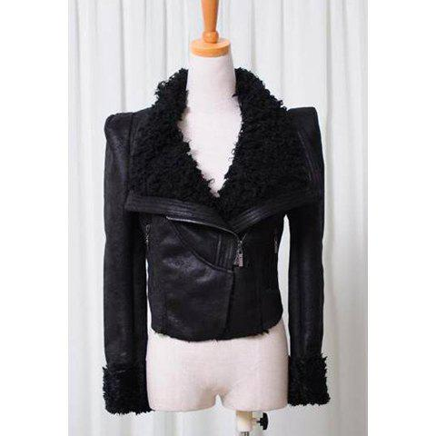 Stylish Lapel Neck Solid Color Long Sleeves Women's Imitated Fur Thicken Coat -  BLACK