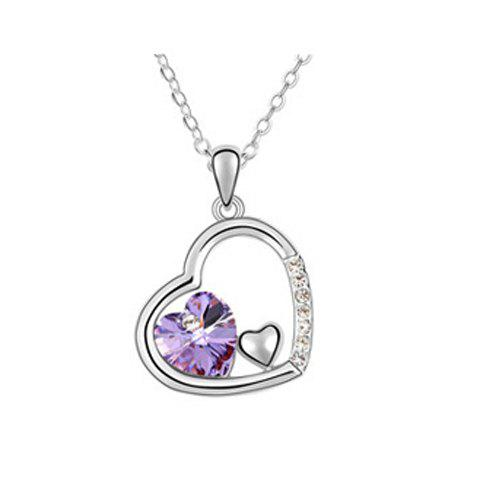 Exquisite Elegant Style Crystal Embellished Heart Shape Women's Necklace - PURPLE