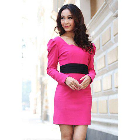 Ladylike Style Square Neck Long Sleeves Women's Color Block Slimming Fit Dress - ROSE M