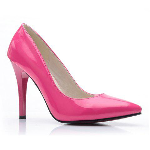 Party PU Leather Solid Color and Stiletto Heel Design Women's Pumps - PEACH RED 40
