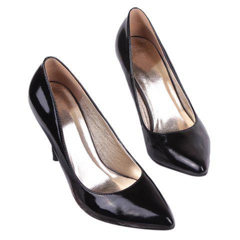 Party Patent Leather Black and Stiletto Heel Design Women's Pumps - BLACK 39
