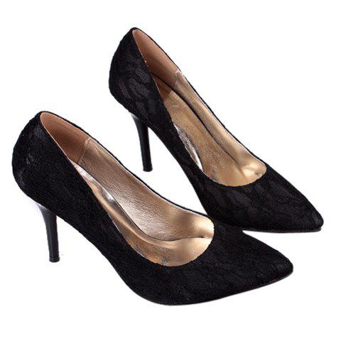 Laconic Trendy Lace Solid Color and Point Head Design Women's Pumps - BLACK 38