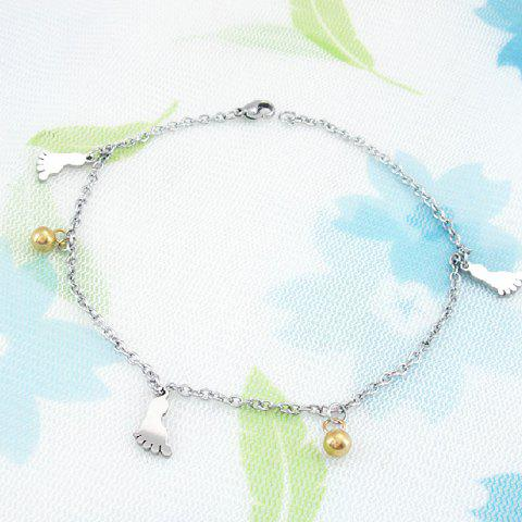 Korea Fashion Ball and Foot Embellished Women's Titanium Steel Anklet - SILVER
