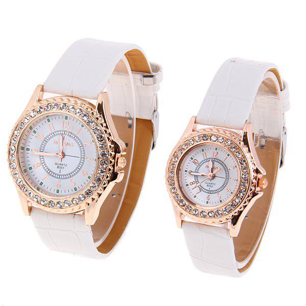 Valentine Bolang Quartz Watch with 12 Number Indicate Round Dial with Leather Watchband for Couple - WHITE