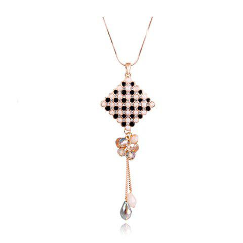 Gorgeous Graceful Style Crystal Embellished Chinese Knot Shape Women's Sweater Chain Necklace - BLACK