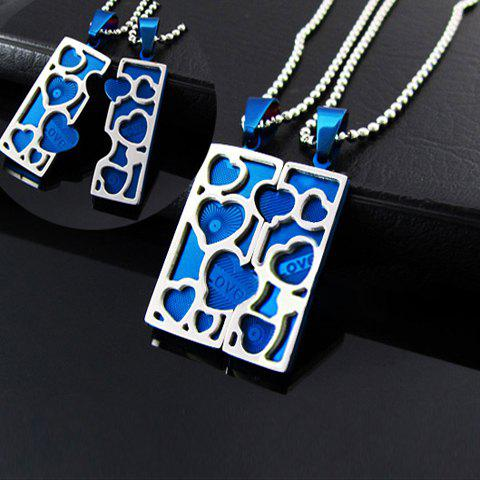 Korea Fashion Heart Splicing Square Pendant Couple's Titanium Steel Necklace - BLUE