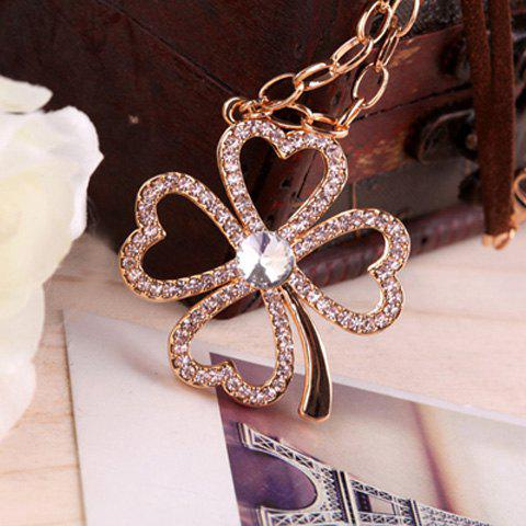 Elegant Ladylike Style Leaf Colver Shape Rhinestone Embellished Women's Sweater Chain Necklace - AS THE PICTURE