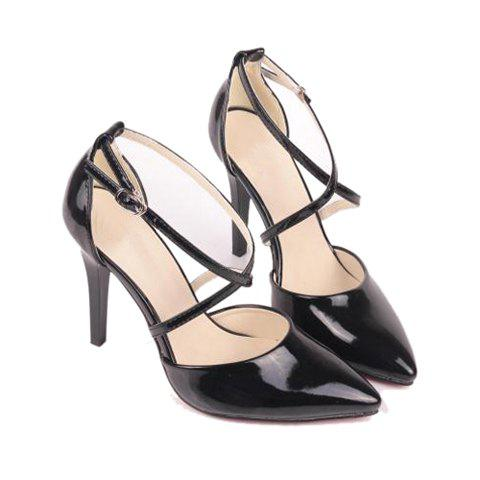 Party Patent Leather Cross Straps and Stiletto Heel Design Women's Pumps - BLACK 35