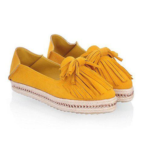 Casual Suede Tassels Bow Design Women's Platform Shoes - YELLOW 37